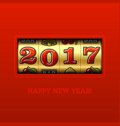happy new year 2017 greeting card with slot vector image