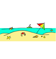 Happy summer a beach with some sea creatures vector