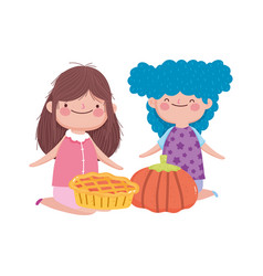Happy thanksgiving day cute little girls with vector