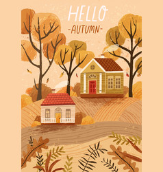 Hello autumn hand drawn greeting card vector