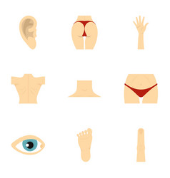 Human body parts icons set flat style vector