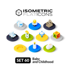 Isometric flat icons set 60 vector image