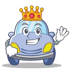 King cute car character cartoon vector