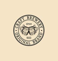 Kraft beer mugs logo lager cups retro sign hand vector
