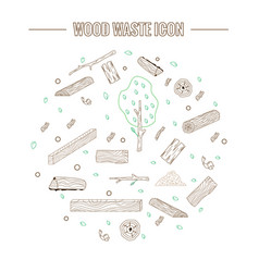 line style icon collection - wood waste elements vector image