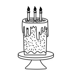 Line sweet cake with burning candles in the table vector