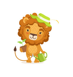 lion cartoon character wearing vector image