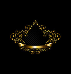 luxury gold frame with calligraphic ornament vector image