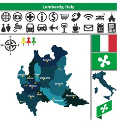 Map of Lombardy vector
