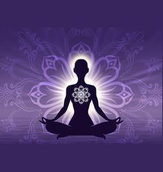 Meditation yoga woman silhouette vector