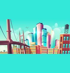 Modern city metropolis growth street with bridge vector