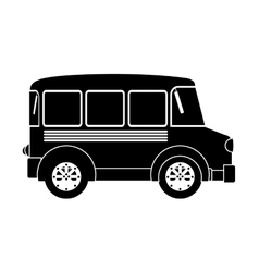monochrome silhouette with transport bus vector image