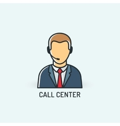 operator in headset call center icon vector image