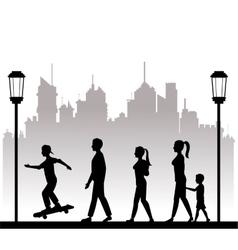 People walking recreation city park lamppost vector