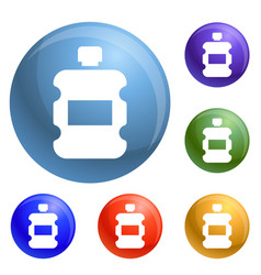 plastic water bottle icons set vector image