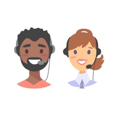 Portrait of happy smiling customer support phone vector