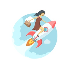 Pretty young woman flying on the rocket in the sky vector