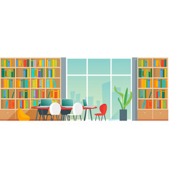 Public library interior with bookshelves and desks vector