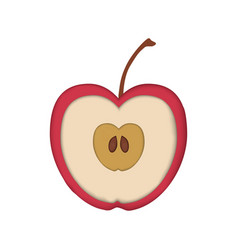 realistic paper cut red apple isolated on white vector image