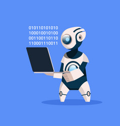 Robot hold laptop coding on blue background vector