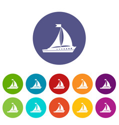 Sailing ship set icons vector