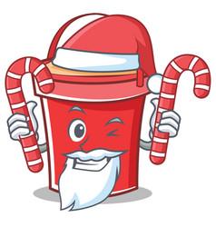 Santa with candy bucket character cartoon style vector