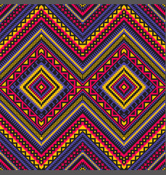 Seamless ethnic pattern with geometric ornament vector