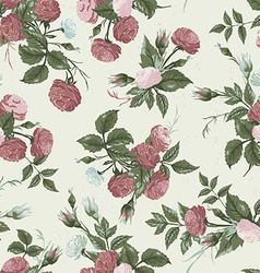 Seamless floral pattern with pink and white roses vector