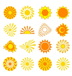 Set of icons sun isolated vector image
