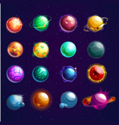 set of isolated cosmos stars or planets vector image