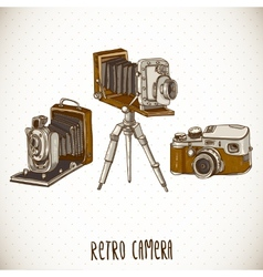Set of Vintage Retro Camera vector