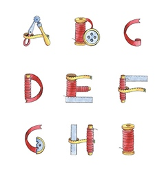Set watercolor alphabet A-I of sewing items vector image