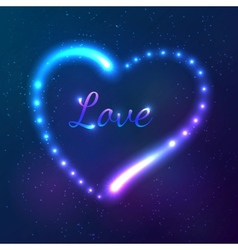 Shining cosmic neon heart with sign Love vector image
