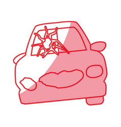 silhouette crash car and dangerous automobile vector image