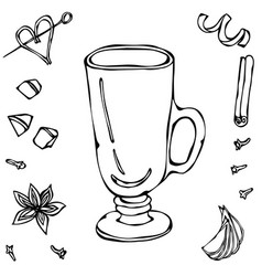 Sketch glass with irish coffee hand drawn vector