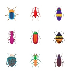 Species of beetles icons set cartoon style vector