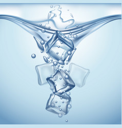 splashing ice cubes vector image