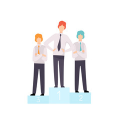 successful businessmen standing on pedestal vector image