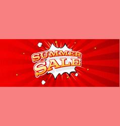 summer sale banner comic pop art style vector image