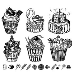 sweet cakes in vintage style tasty pastry doodle vector image