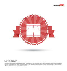 Swimming trunks icon - red ribbon banner vector