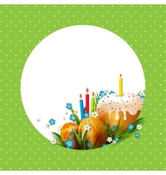 Template with Easter eggs flowers and cake vector