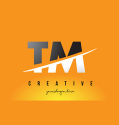 Tm t m letter modern logo design with yellow vector