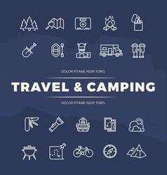 Travel and camping line icons set vector