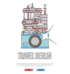 travel berlin poster with camera vector image