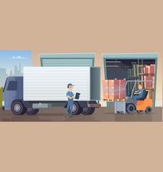 warehouse background people and machine working vector image