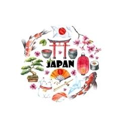 watercolor set japan vector image