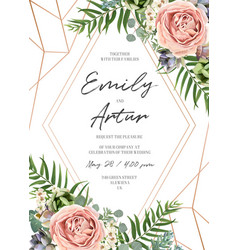 Wedding floral tropical invite card design vector