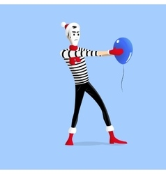 Winter mime performance with ballon vector