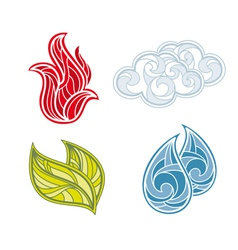 abstract icon set of nature elements vector image